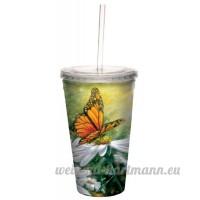 Tree-Free Greetings rayons de lumière Papillon Floral Cool Tasse de voyage à double paroi avec paille  453 6gram–Cadeau pour les amateurs de jardin et fleur–80023 - B008EGE96I
