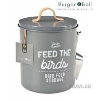 Burgon and Ball Récipient en émail –Rangement pour graines/ nourriture pour oiseaux M gris charbon - B076VCJZXC