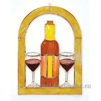Petits verres à vin et bouteille Cathedral Panneau de la fenêtre - B00T9FGI0S