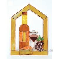 Petit vin avec fromage et raisins Scène clocher fenêtre Panneau - B00PYET6MU