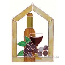 Petite Bouteille Vin Raisins en verre Scène clocher fenêtre Panneau - B00PYESPUO