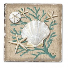 Linen Shells Single Tumble Tile Coaster - B00NO5DZ6O