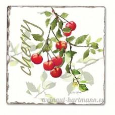 Julie's Cherries Single Tumbled Tile Coaster - B00NO58FLO