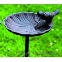 Abreuvoir pour oiseaux/jardin Tige  oiseaux sur Coquillage  fonte  marron  Variante B - B079RC2VFV
