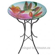 """Peaktop peinte à la main Colibri avec plaque de verre Blossom Bain d'oiseau avec support en métal pliable  45 7cm Colibri 18"""" Multi-Color - B01BG5Y4KE"""
