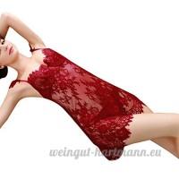 ❤️LILICAT Femmes Sexy Lingerie Dentelle Sous-Vêtements Vêtements de Nuit Nuit Siames Rouge Body Seamless Plus Taille Cadeaux Strap cils perspective dentelle chemise de nuit sexy lingerie - B07C4HGKQM