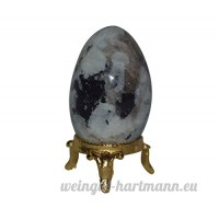 Prisha Rainbow Moonstone Eggs 1 Piece With Stand  Pebbles  Glossy Stone for Home Décor  Lucky Charm  Healing  Vastu  0.5 Pounds - B077MHWLGK
