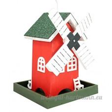 Colourliving® Mangeoire Moulin à vent couleur rouge éclairage LED avec minuteur Mangeoire à oiseaux - B0777MYNDR