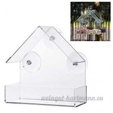Mangeoire pour oiseaux transparente à suspendre  en plexiglas avec ventouses - B076H3ZW8T