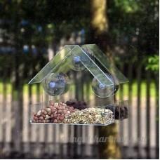NEUF fenêtre en verre Mangeoire pour oiseaux table graines Cacahuète suspendu Transparent regarde un oiseau nourriture - B074P21Y8Y