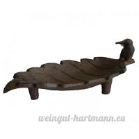 Coupelle Style Bain d'Oiseaux ou Support à Savonnette en Fonte Patinée Marron 7x9x19cm - B072XNQ73V