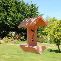 Mangeoire à suspendre pour oiseaux double bac en bois massif  fabrication artisanale - B06XRWP1K4