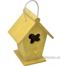 Mangeoire Nichoir décoratif en bois jaune avec dispositif de suspension hauteur 19cm - B016OPPAVI