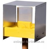Luxus-Vogelhaus 38471e Mangeoire pour oiseaux moderne avec toit en aluminium  tablette et réservoir à nourriture  béquille - Bois de chêne - Jaune - B00Q2V43KE