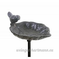 Mangeoire à Oiseaux Feuille avec Oiseau en Fonte Noire avec Piquet. - B00LIU5YU2