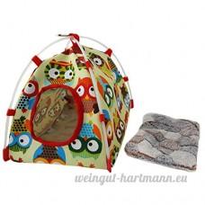 Beetest Maison D'oiseau  Belle Cartoon Owl Motif Suspendu Oiseau Perroquet Nid Chaud Cave Chambre Lit Tente pour Oiseau Cage Décorations - B07D3RW1NW