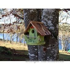 Nichoir à oiseaux Maison à oiseaux PRODUIT FRANCAIS  23 cm haut  vert pomme brossé  Villa à oiseaux pour jardin colorés  fait avec du bois massif Douglas et pin  tout est vissé  lasuré 3-fois avec lasure acrylique. Nous sommes membre de la chambre d'artisanat français. 98 % de nos clients sont satisfaits. Qualité/prix excellentes  deux petits crochets pour des boules de graisse en cadeau. - B078QXPXXT