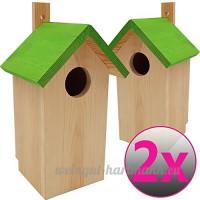 2x Nichoirs pour oiseaux 23 x 13 x 14 cm en bois idéal pour mésanges  mésanges charbonnière geais des chênes et d'autres petits oiseaux - B06XHC62TF