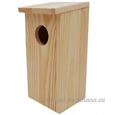 Power-Preise24 Nichoir pour oiseaux en bois 22 x 9 x 10 cm - Mangeoire idéal pour mésanges  mésanges charbonnière  rouges-queues et d'autres petits oiseaux - B07BHTQZCM