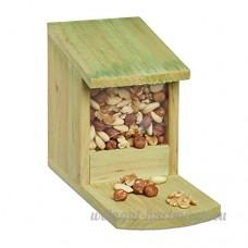 Relaxdays Mangeoire pour écureuil en bois nourriture animaux HxlxP: 17 5 x 12 x 25 cm résistant solide  vert - B06XJ3YN64