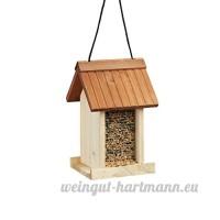 Relaxdays Mangeoire à oiseaux distributeur de nourriture graines en bois à suspendre HxlxP 27 x 17 x 18 cm  marron - B06XNKPB9L