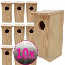 10x Nichoirs pour oiseaux 22 x 10 5 x 10 5 cm en bois idéal pour mésanges  mésanges charbonnière  rouges-queues et d'autres petits oiseaux - B01DWNUV0U