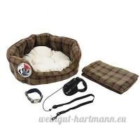4 Pce DE LUXE Chiot Chien Noir Kit de démarrage petit lit Laisse Collier couverture - B07C6MNT6T