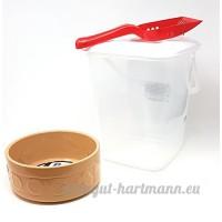 Large Crème Pot en grès chien eau Bol à nourriture RANGEMENT NOURRITURE Tube & cuillère - B07CGDWB2B
