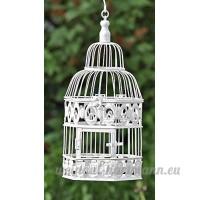 Meubles  décoration de jardin - cage à oiseaux  oiseaux de petite taille - style: shabby chic  rustique - matériel: métal - couleur: blanc - approx 39 cm - B07BRBL8VX
