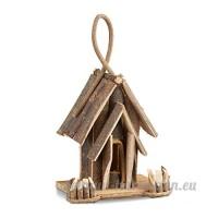 Relaxdays Nichoir à oiseaux décoration maison à oiseaux en bois à suspendre villa fait main balcon  nature - B079MBVDL4
