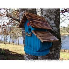 Nichoir à oiseaux Maison à oiseaux PRODUIT FRANCAIS  27 cm haut  bleu brossé  toits flambés  Villa à oiseaux pour jardin colorés  fait avec du bois massif Douglas et pin  tout est vissé  lasuré 3-fois avec lasure acrylique. Nous sommes membre de la chambre d'artisanat français. 98 % de nos clients sont satisfaits. Qualité/prix excellentes  deux petits crochets pour des boules de graisse en cadeau. - B0798W66PV