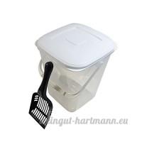 10L RANGEMENT NOURRITURE boîte & noir cuillère sans BPA pot en plastique avec couvercle et poignée - B078LRNQ46