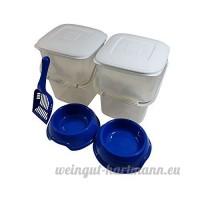 5 pièce set animal 10L RANGEMENT NOURRITURE plastique Poubelle Tube avec couvercle AN anse bleu cuillère & BOLS - B078LGW6VL