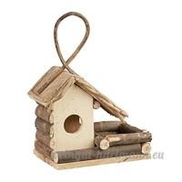 Relaxdays Nichoir à oiseaux décoration maison à oiseaux en bois à suspendre villa fait main  nature - B079MBVG1B