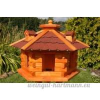 Deko-Shop-Hannusch Nr16 Nichoir à oiseau style maison en rondins de bois avec lucarnes Toit rouge - B000XSX952