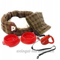 6 pice de luxe chien rouge Kit de démarrage MOYEN lit de TARTAN laisse collier couverture - B07CRHGDJN