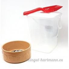 4 Pce Large Crème Pot en grès chien eau Bol à nourriture RANGEMENT NOURRITURE Tubes & cuillère - B07CGLBRS6