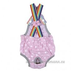 Yunt Culotte Hygienique A Pois avec Bretelle Reglable pour Chiennes Chien Femelle  Rose  Taille S - B01M722V84