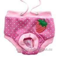 Yunt Mignonne Culotte Hygienique pour Chien en Chaleur Style a la Fraise (Rose  L) - B01EH6I1GC