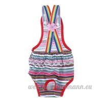 La Cabina Sangle Sous-vêtements pour Chien Femelle Culotte Sanitaires Chiot Physiological Short Pants Diaper Pantalon Rayures Rouges - B07C9RX2SB