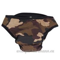 Pinzhi - Culotte Physiologique Sous-Vêtement Menstruel pour Chien Couche Bretelles Coton Lavables pour Animal L - Camouflage - B01N3UNUQE