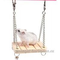 Nalmatoionme Creative Hamster Petit Animal balançoire en bois avec Bell jouet - B071F3DQSB