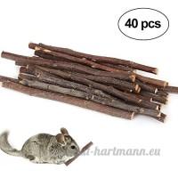 Umiwe Apple Bâtons pour animal domestique Snacks  Naturel Bâtons à mâcher pour petit animal jouet à mâcher pour cochons d'Inde chinchilla écureuil Lapins Parrot Hamster (40pcs) - B07DGW92H6