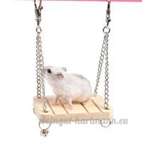 Kiao Balançoire Avec clochette en bois Jouets Pour Hamster Cochon D'inde Hérisson Chinchilla Swing Bell pour animal domestique - B071CS2MYD
