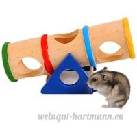 Jouet en bois de tonneau  Meiyaa de hamster en bois arc-en-ciel renversé jouets de balançoire pour hamster - B0796D2JC2