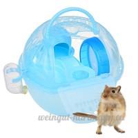 Petacc Portable Hamster Voyage Transporteur Pratique En Plastique Hamster Cage Durable Hamster Vivant Habitat Maison avec Slide Design et réservoir d'alimentation  Convient pour Hamster (Bleu) - B078V6RHCP