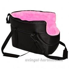 Sac de transport bandoulière pour chien Voyage Puppy Cat Pet Fourrure Noir Rembourré avec doublure rose - B00V175MW2