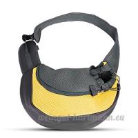 PETCUTE Pet Sling Chat Puppy Carrier Mesh épaule Carry Bag Sling Mains-Libres Sac de Voyage Jaune - B07C1Z8WQ7
