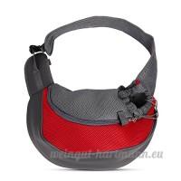 PETCUTE Pet Sling Chat Puppy Carrier Mesh épaule Carry Bag Sling Mains-Libres Sac de Voyage Rouge - B07C1Z3X2K
