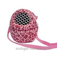 Lazzykit Sacoche de voyage portable Sacs de Transport Respirant pour Petit Animaux de Domestique Écureuil Chinchillas Hamsters (L:25*21cm  Leopard rose) - B0797M6TTV